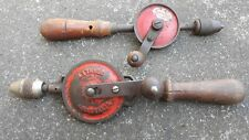 Vintage Stanley & Genco Hand Drills Lot x 2 Old Tools
