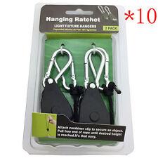 10Pair Rope Ratchet Adjustable Heavy Duty Hanger Light Lamp Reflector Max 150Lb