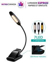 Lampe de lecture à LED, 7 LED et 3 niveaux USB rechargeable, Protection des yeux