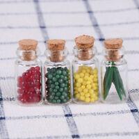 4 Stück Puppenhaus Miniatur Essen Glas Kork Flasche Küche Dekor 1/ ei