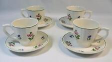 4 Gien Lorraine Rose France Green Trim Hand Paint Cups & Saucers Excellent