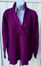 Lauren Ralph Lauren Womens patarine ribbed v neck sweater large purple $99 nwt