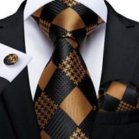 Mens Black Brown Checks Silk Tie Set Jacquard Woven Necktie Hanky Cufflinks Gift