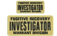 Fugitive Recovery INVESTIGATOR embroidery patch 4x10 & 2.5x6 hook tan
