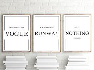 More Issues Than Vogue Fashion Art Home Decor Wall Art Set of 3 Prints A4