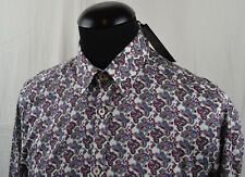 af2e18613 Ted Baker Paisley Print Long Sleeve Casual Shirt Size 3 White Red Blue Mod