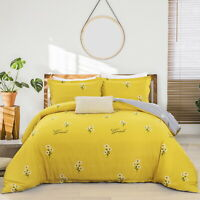 Yellow Cotton Chrysanthem Floral Single Queen King Size Quilt Doona Duvet Cover