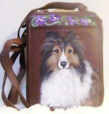 Sheltie Dog original painting on GAL genuine leather Shoulder bag purse OOAK