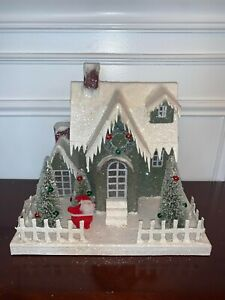"Bethany Lowe Christmas Putz 10"" House Green Cape Cod Santa AS IS"