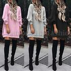 ZANZEA Women Long Sleeve Sweatshirt Dress Loose Shirt Dress Pullover Jumper Plus