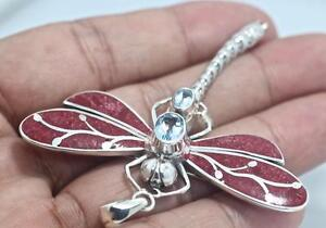 Handmade Solid Sterling Silver .925 w Coral/Gem Dragonfly Pendant/Brooch.