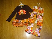 BONNIE JEAN Thanksgiving Turkey Tunic & Leggings Set Size 5 NWT