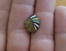 Chief enamel brooch C Clasp Unique Rare Antique Native American
