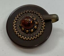 Large Mid Century Brown Shank Button with Clasp/Hook Bakelite 1 3/4""