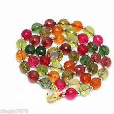 AAA10mm Multicolor Faceted tourmaline Gemstone round Necklace 18'' Magnet button