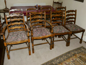 Set of 8 Ladderback Reproduction Upholstered Dining Chairs Including 2 Carvers
