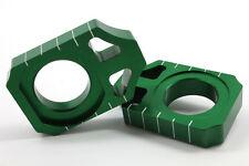WORKS AXLE BLOCKS (GREEN) Fits: Kawasaki KX250F,KX450F,KLX450R,KX250,KX125 Suzuk