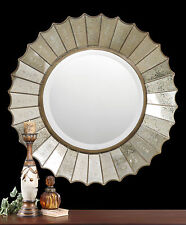 """NEW 32"""" ETCHED GLASS FRAME ROUND ANTIQUED GOLD LEAF METAL BEVEL WALL MIRROR"""