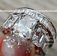 925 Sterling Silver Princess cut Engagement Ring 2pc Wedding band Bridal Set sz8