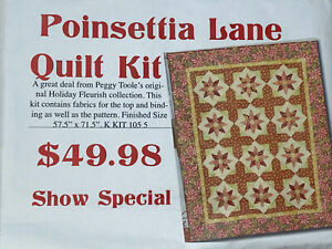 Pointsettia LaneKit Material & Pattern Magazine Instructions Included Patchwork