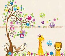 Parchemin Fleur Arbre Hibou, animaux (girafe, lion) nursery wall stickers