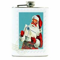 8 oz Pocket Hip Flask Santa Postcard Christmas Liquor Gift Retro Vntg Decor