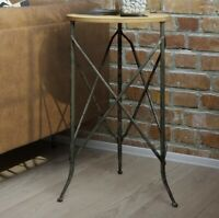 Rustic Industrial Side Table Round Display Storage Stand Wooden Top Iron Legs