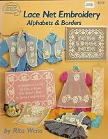 Net Lace Embroidery Alphabets & Borders Darning Patterns Rita Weiss ASN 3034