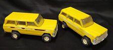 Lot of 2! Vintage Tonka Yellow Jeep Wagoneer Pressed Steel Metal 1970s Usa 53078