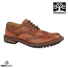 Woodland M843 Mens Tan Antique Leather 4 Eyelet Stylish Brogue Gibson Shoes