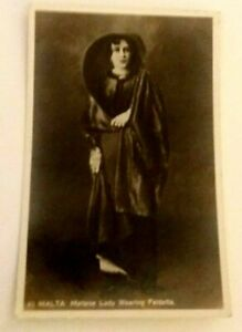 Vintage Real  Photograph  Postcard  Malta  -  Maltese  Lady Wearing  Faldetta