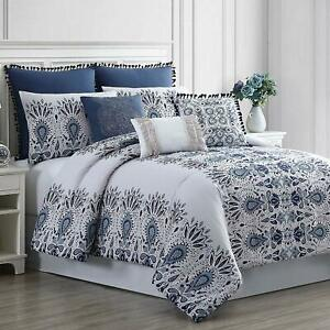 Amrapur Overseas Kira 8-Piece Embellished Comforter Set, Queen, White/Blue