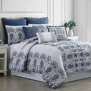 Amrapur Overseas Kira 8-Piece Embellished Comforter Set, Queen, White/Blue