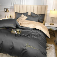 60S Long-staple Cotton Bedding Set Egyptian Solid Color Duvet Cover Bed Sheet