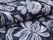 0,5 m Vintage, 100% Baumwolle Stoff, Rosen Barock Still, Grau Blau, Edel