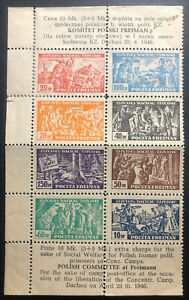 Mint Dachau Poland Social Welfare For Prisoners Stamps Issue 1946
