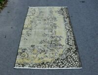 Turkish Beige Color Wool Carpet Anatolian Hand Knotted Vintage Area Rug 3x5 ft