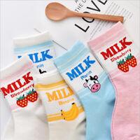 Random Long Socks Strawberry Banana Cow Ankle Socks Milk Patterned Short Sock *u