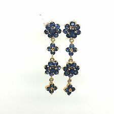 Natural Sapphire Earrings 14k Yellow Gold