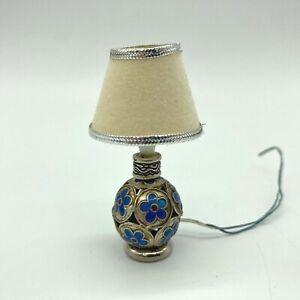 Vintage 1:12 Dollhouse Electric Table Lamp Blue Metal Flower Pattern Miniature