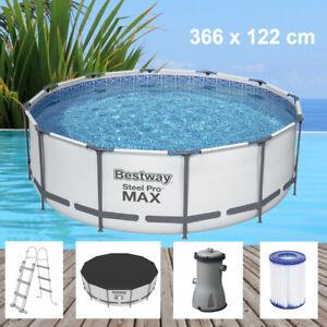 Bestway Steel Pro MAX 366x122cm Pool Filterpumpe und Zubehör Gartenpool 56420-21