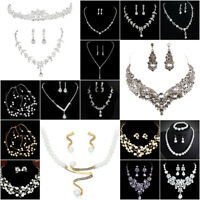 Luxury Wedding Bridal Party Crystal Rhinestone Necklace Earrings Jewelry Set