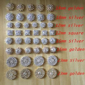 Silver Tone Clear Crystal Rhinestone DIY Embellishments Flatback Buttons Decor