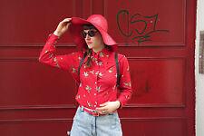 Hut rotes KnautschLack 70s Hippie GR 53 True Vintage cap hat red lack
