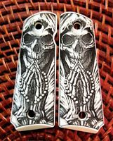 1911 custom engraved ivory scrimshaw grips Grim Reaper Praying Skull Cross