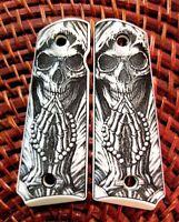 1911 custom engraved ivory scrimshaw grips Grim Reaper Praying Skull Cross