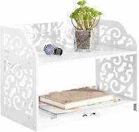 Nice! Shelf White Shabby Chic Bookshelf Elegant Scrollwork 2-Tier Organizer