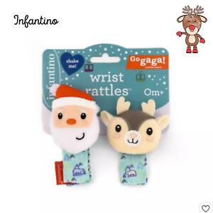 Infantino Christmas Santa Reindeer Infant Wrist Rattles 0m+, Infant Toys
