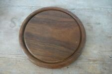 vintage bread board dark wood 10 inch diam