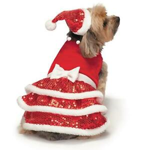 "Zack &Zoey Dog Christmas Holiday Sparkle Sequin Velvet Dress Small Red 12"""